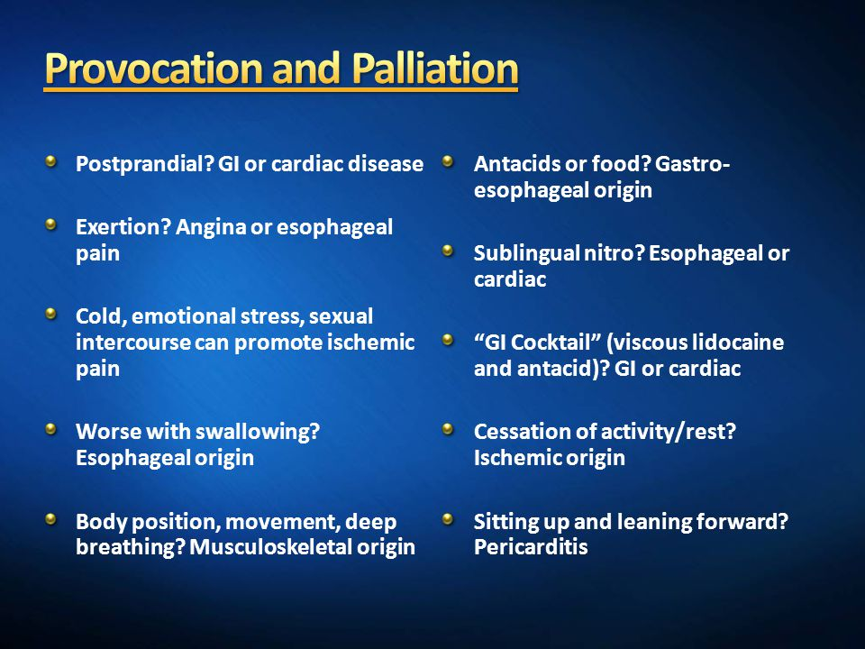 Provocation and Palliation