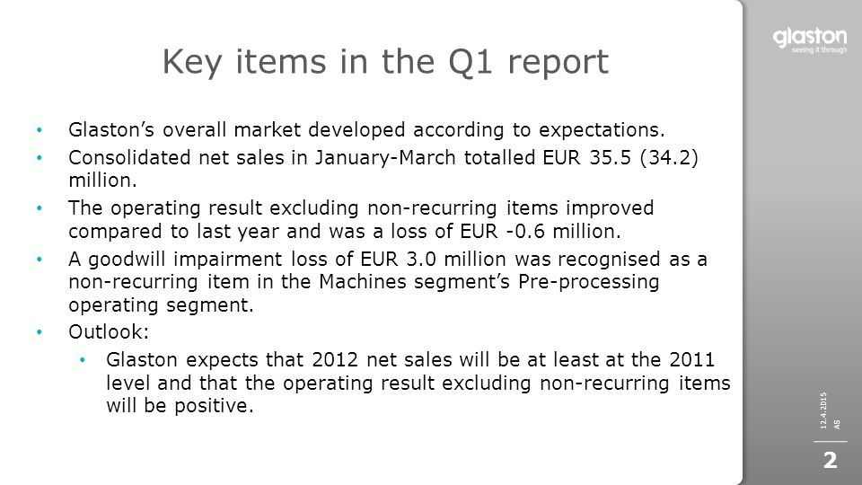 Key items in the Q1 report