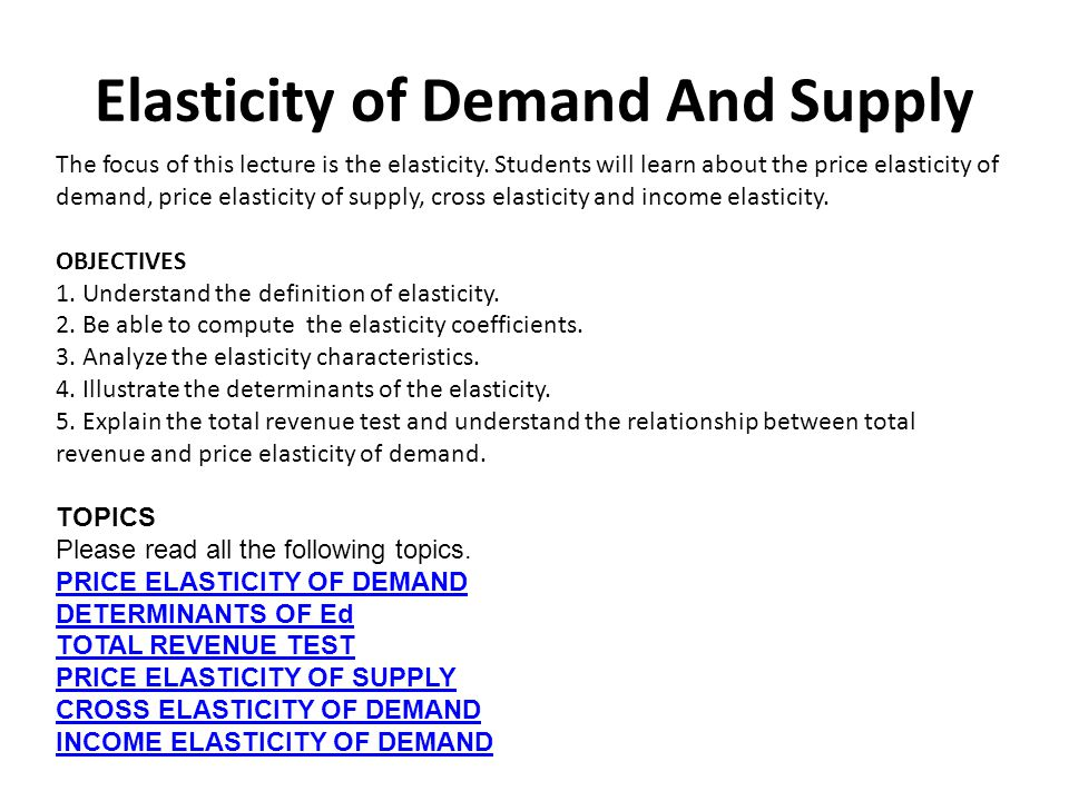 an analysis of the topic of the price elasticity of demand