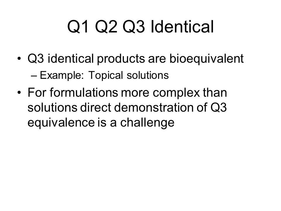 Q1 Q2 Q3 Identical Q3 identical products are bioequivalent