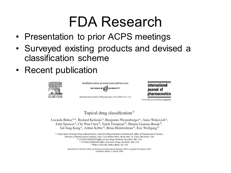 FDA Research Presentation to prior ACPS meetings