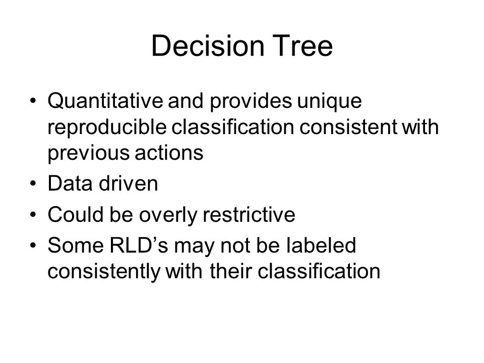 Decision Tree Quantitative and provides unique reproducible classification consistent with previous actions.
