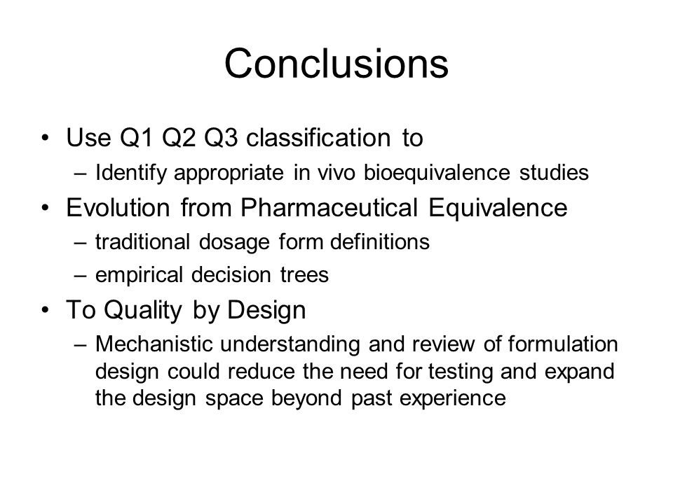 Conclusions Use Q1 Q2 Q3 classification to