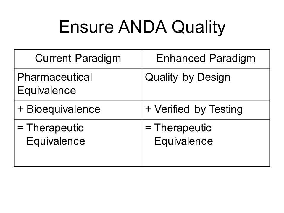 Ensure ANDA Quality Current Paradigm Enhanced Paradigm