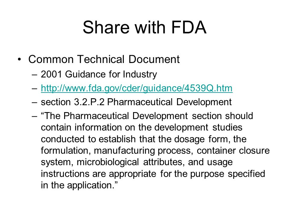 Share with FDA Common Technical Document 2001 Guidance for Industry