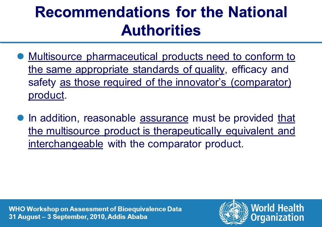 Recommendations for the National Authorities