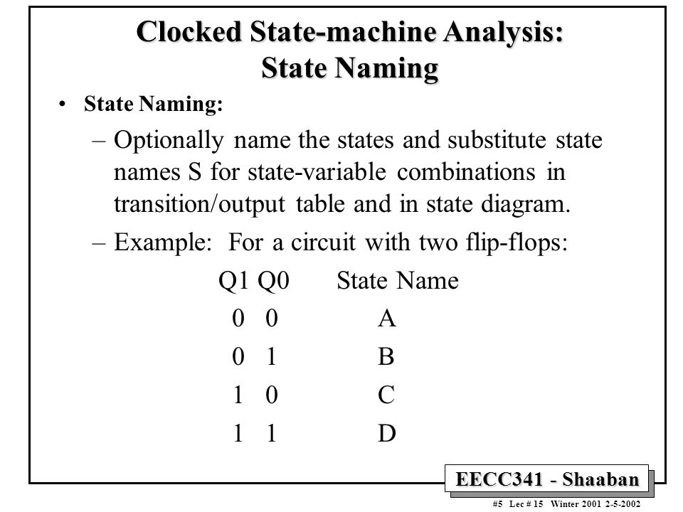 Clocked State-machine Analysis: State Naming