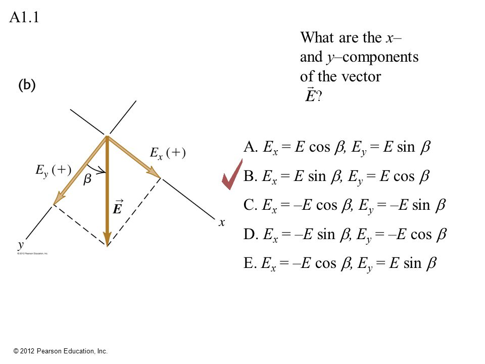 A1.1 What are the x– and y–components of the vector. A. Ex = E cos b, Ey = E sin b. B. Ex = E sin b, Ey = E cos b.
