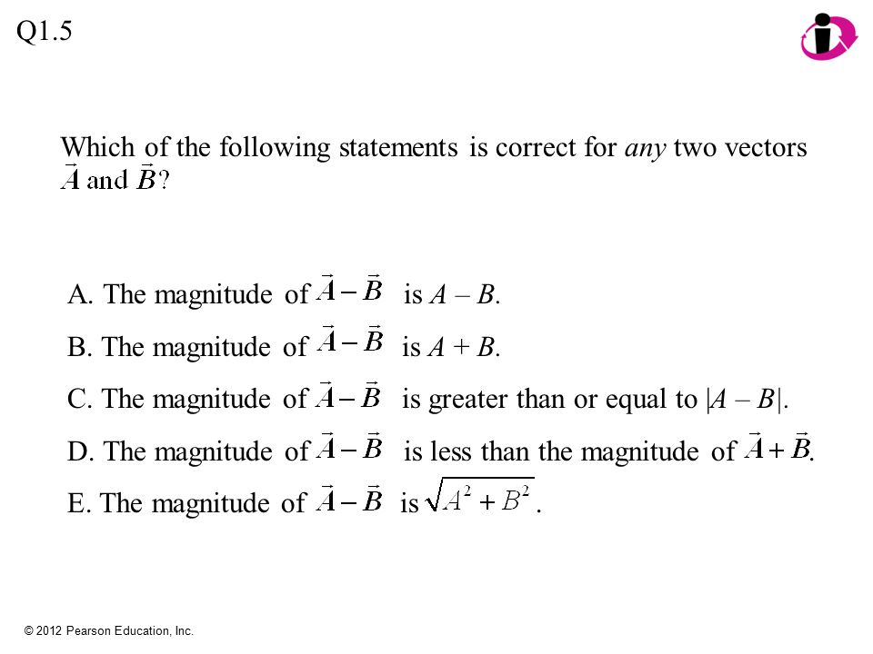 Which of the following statements is correct for any two vectors