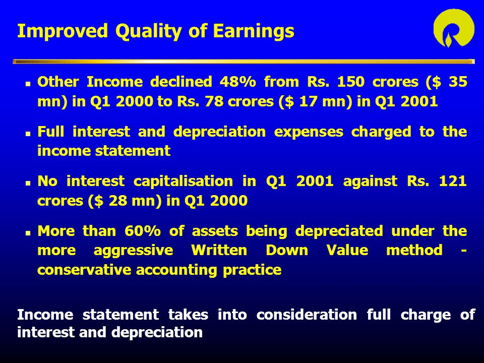 Improved Quality of Earnings
