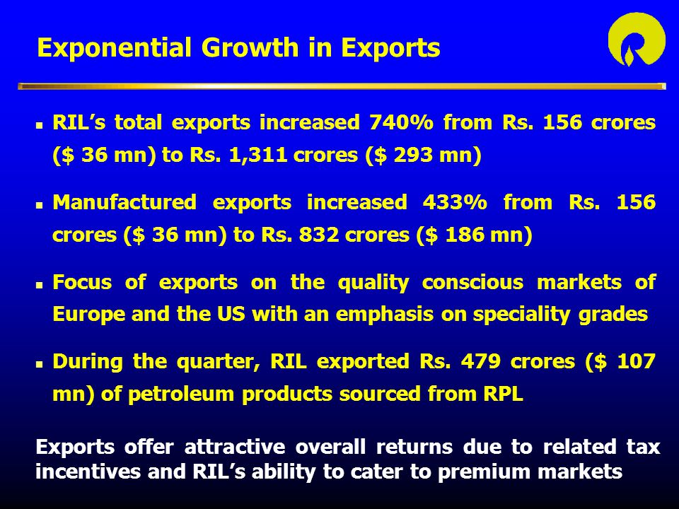 Exponential Growth in Exports