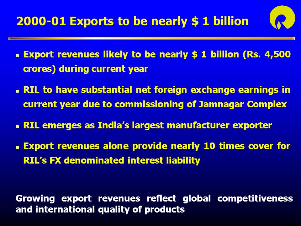 2000-01 Exports to be nearly $ 1 billion
