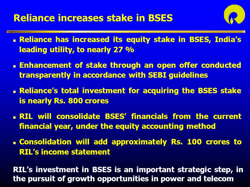 Reliance increases stake in BSES