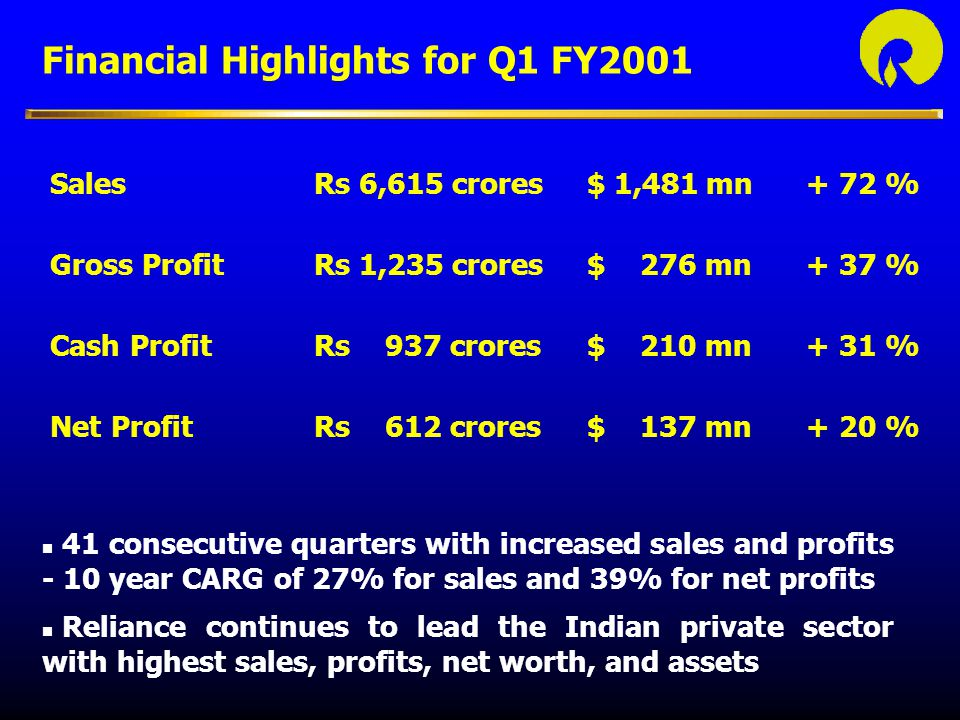 Financial Highlights for Q1 FY2001