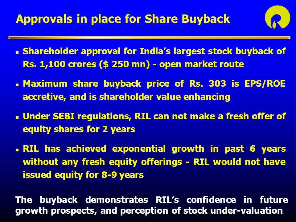 Approvals in place for Share Buyback