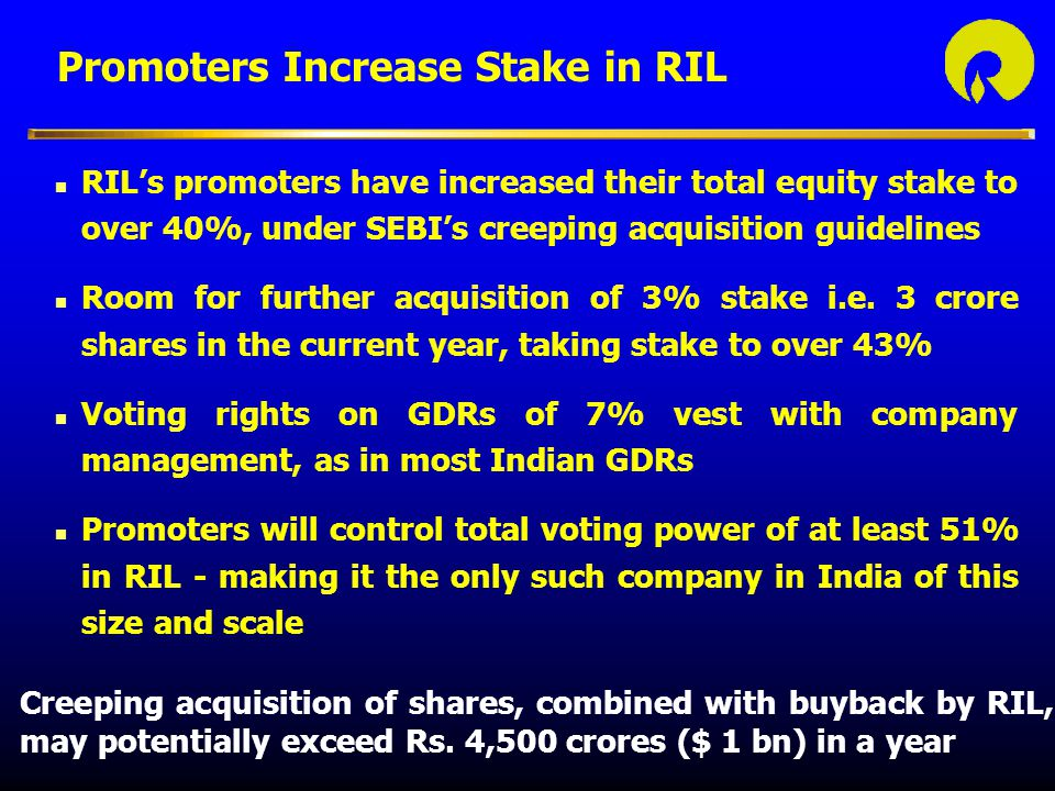 Promoters Increase Stake in RIL