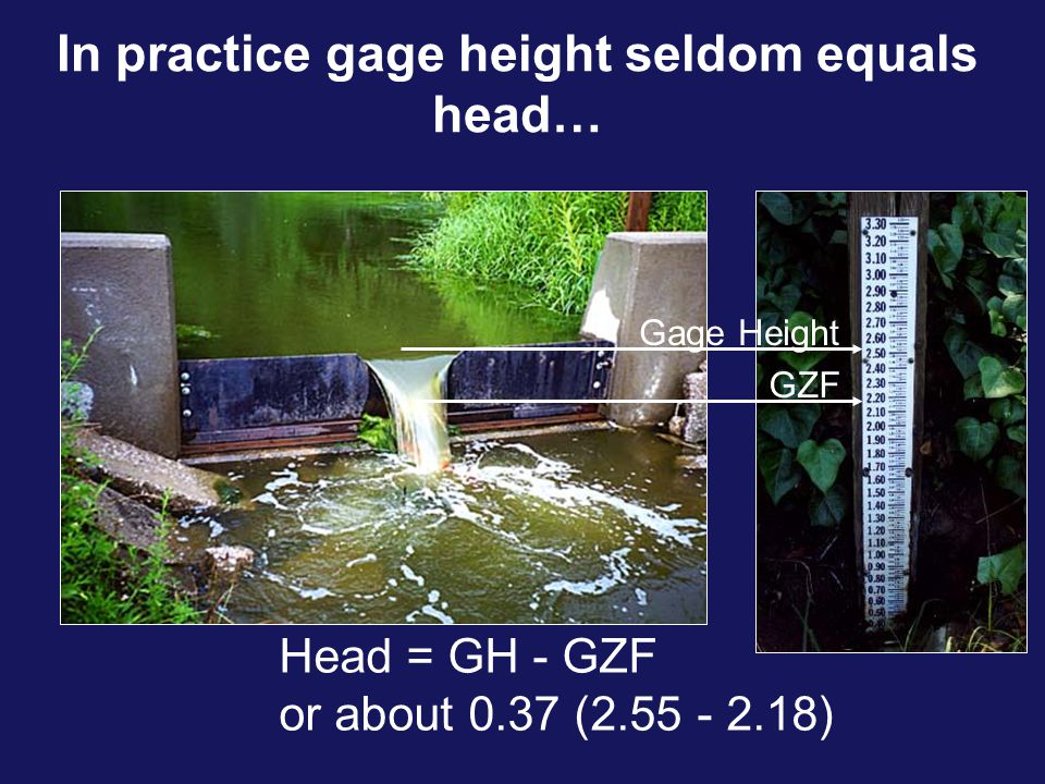 In practice gage height seldom equals head…