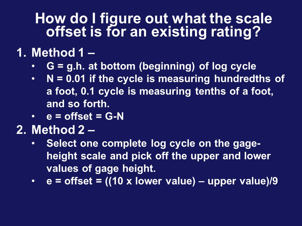 How do I figure out what the scale offset is for an existing rating
