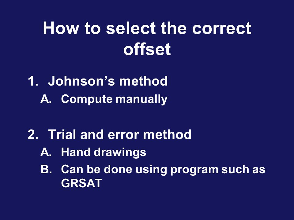 How to select the correct offset