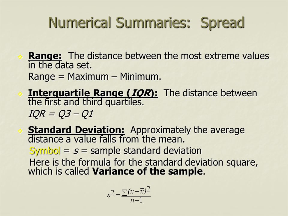 Numerical Summaries: Spread