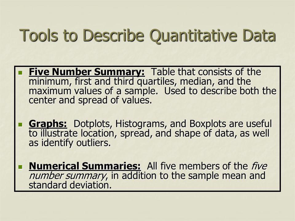 Tools to Describe Quantitative Data