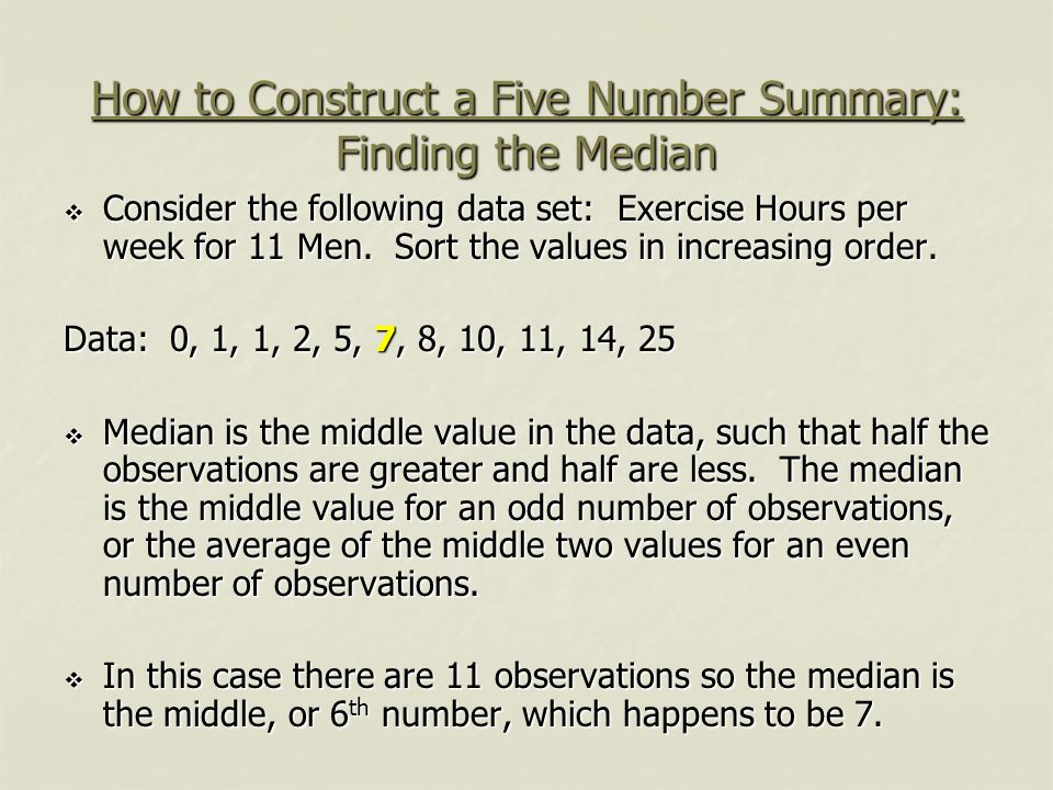 How to Construct a Five Number Summary: Finding the Median
