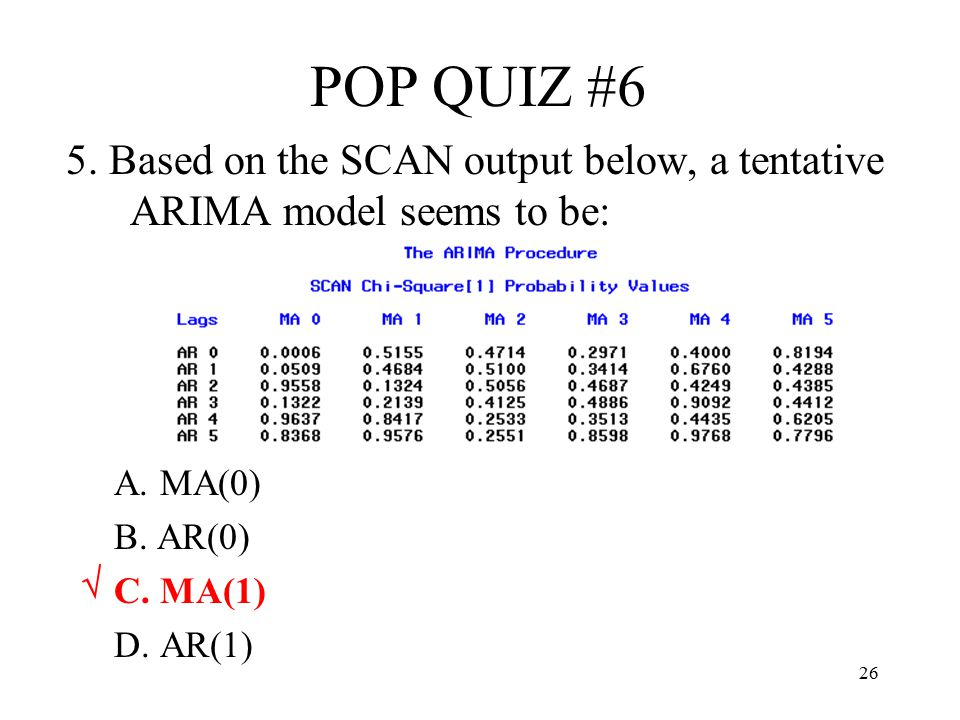 POP QUIZ #6 5. Based on the SCAN output below, a tentative ARIMA model seems to be: A. MA(0) B. AR(0)