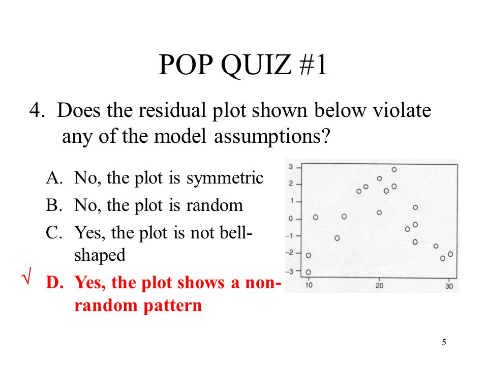 POP QUIZ #1 4. Does the residual plot shown below violate any of the model assumptions No, the plot is symmetric.