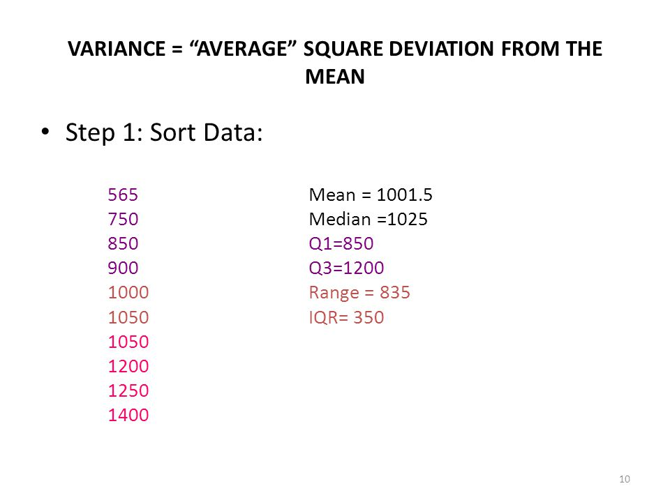 VARIANCE = AVERAGE SQUARE DEVIATION FROM THE MEAN