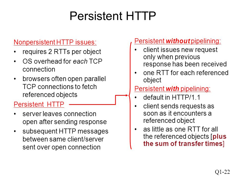 Persistent HTTP Nonpersistent HTTP issues: