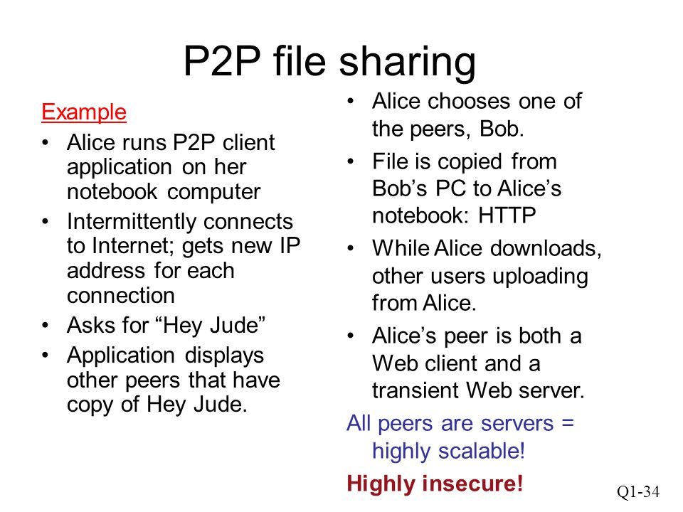 P2P file sharing Alice chooses one of the peers, Bob. Example