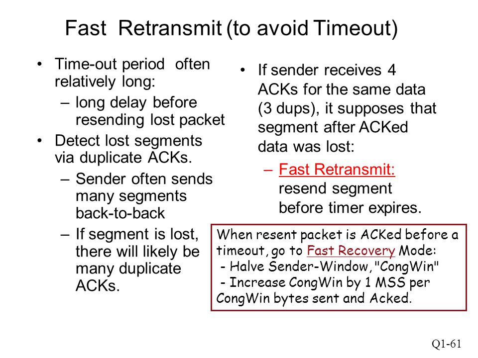 Fast Retransmit (to avoid Timeout)