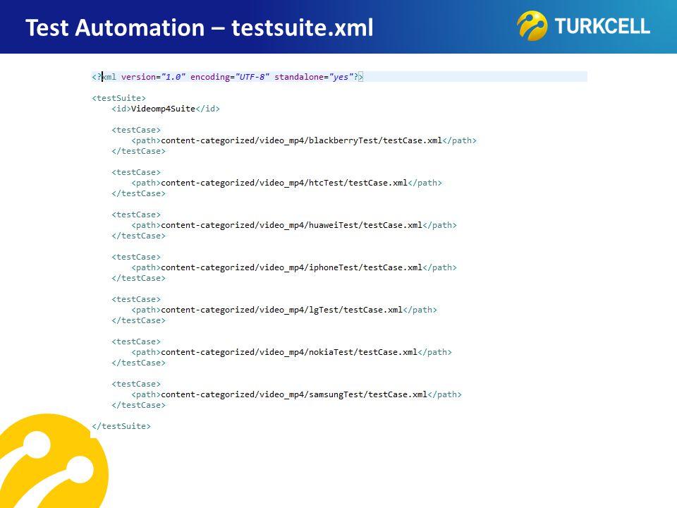 Test Automation – testsuite.xml