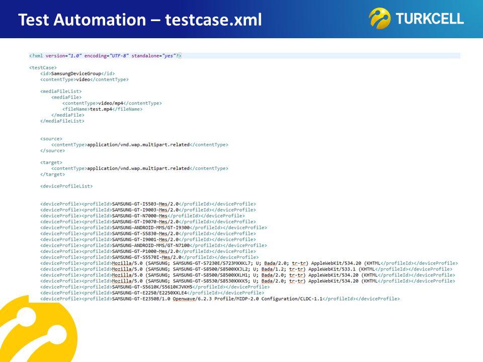 Test Automation – testcase.xml