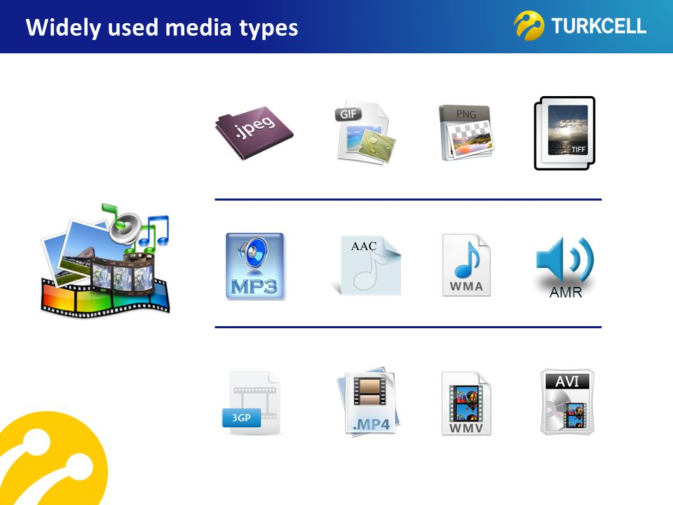 Widely used media types