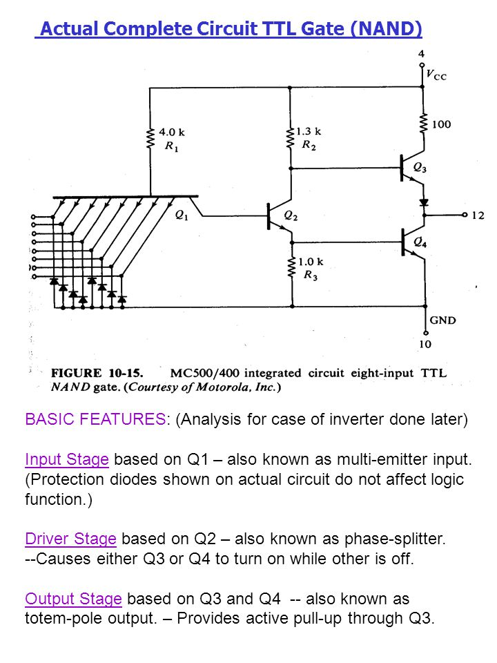 Actual Complete Circuit TTL Gate (NAND)