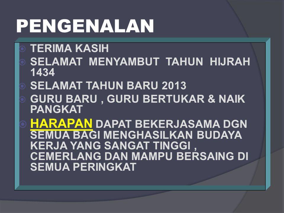PENGENALAN TERIMA KASIH. SELAMAT MENYAMBUT TAHUN HIJRAH 1434. SELAMAT TAHUN BARU 2013. GURU BARU , GURU BERTUKAR & NAIK PANGKAT.