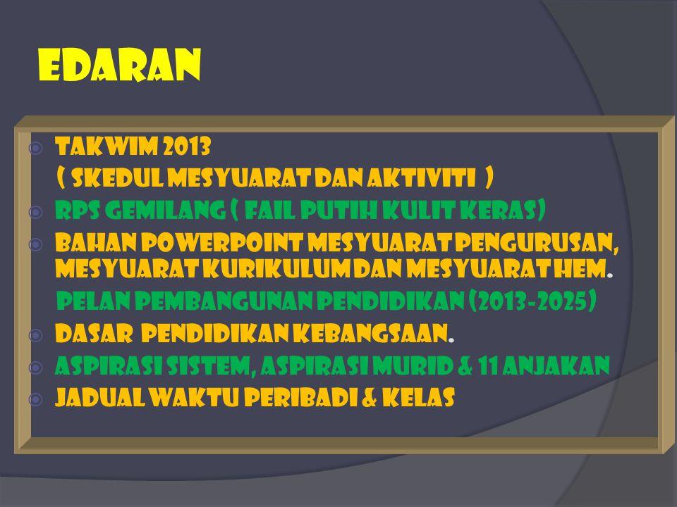 edaran Takwim 2013 ( skedul mesyuarat dan aktiviti )