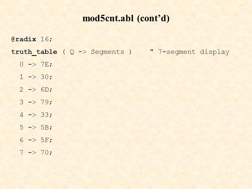 mod5cnt.abl (cont'd) @radix 16;