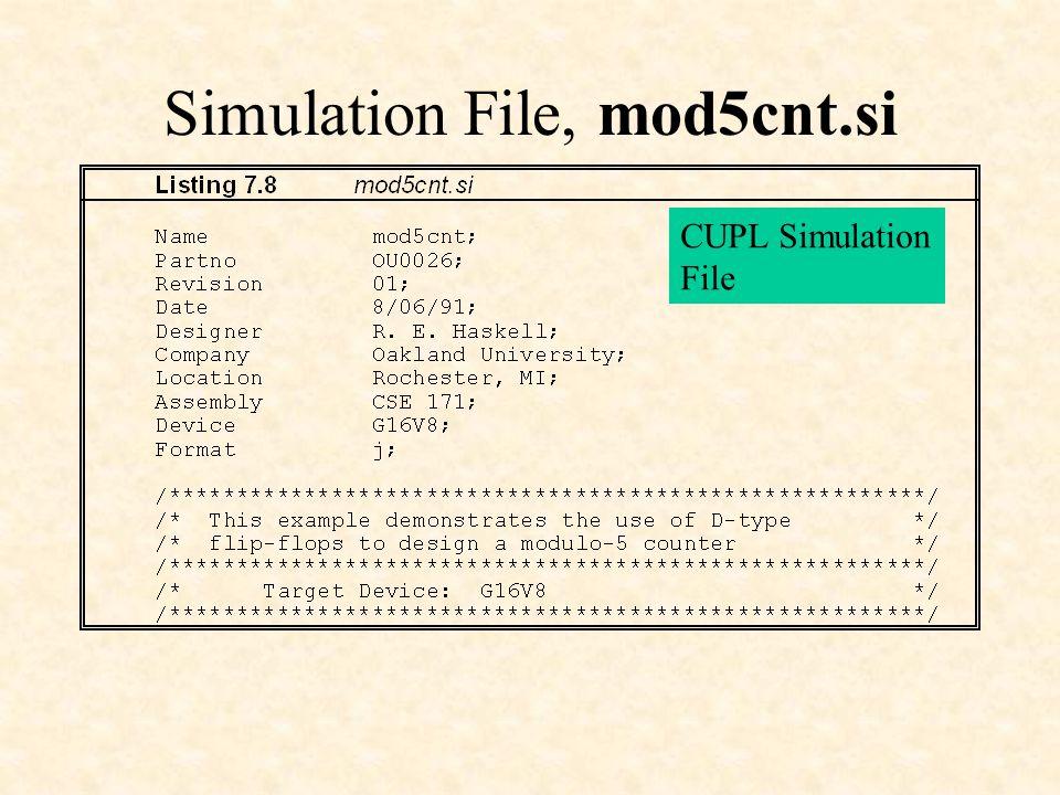 Simulation File, mod5cnt.si