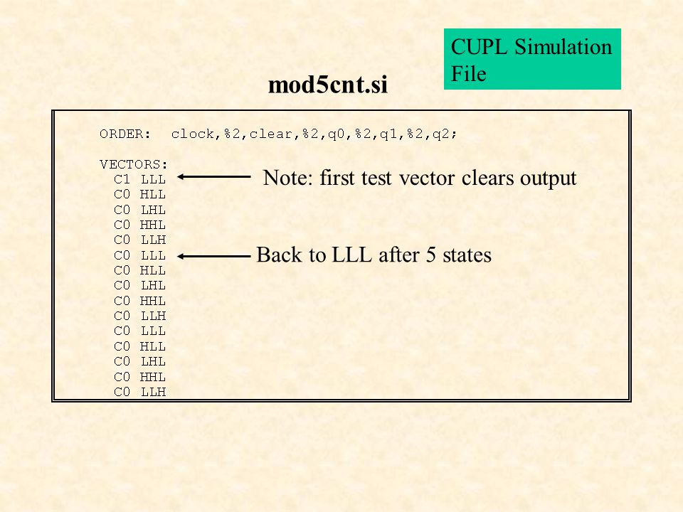 mod5cnt.si CUPL Simulation File Note: first test vector clears output