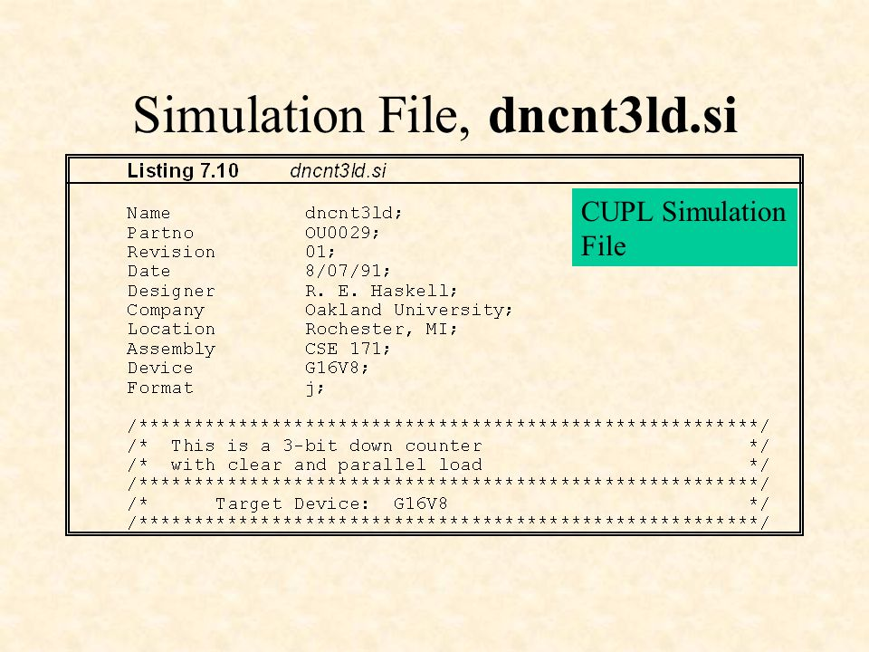 Simulation File, dncnt3ld.si