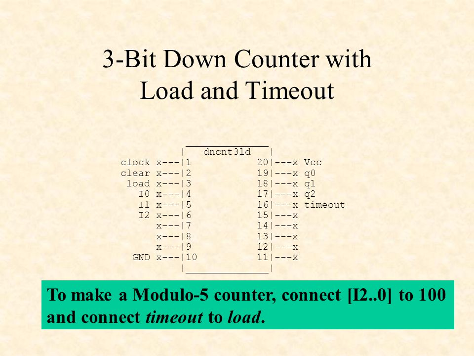 3-Bit Down Counter with Load and Timeout