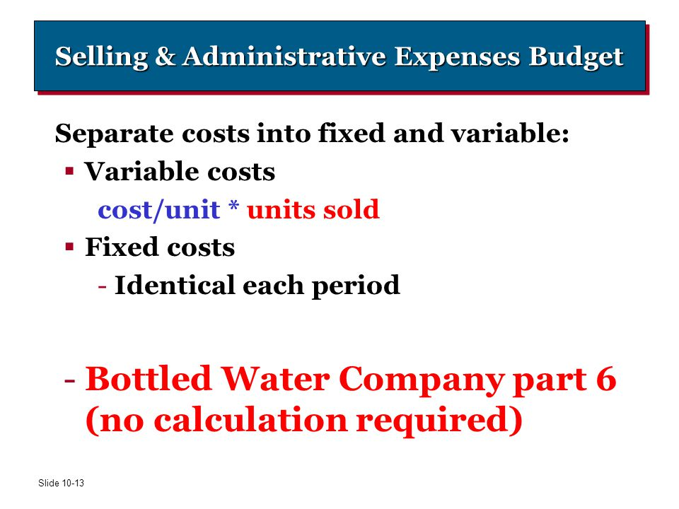 Selling & Administrative Expenses Budget