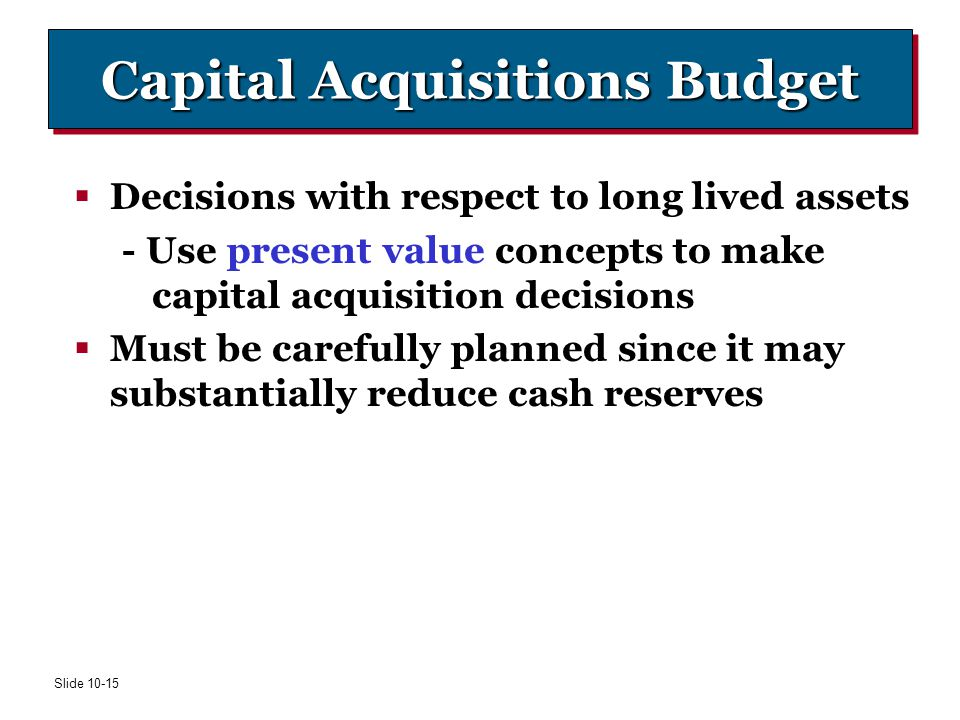Capital Acquisitions Budget
