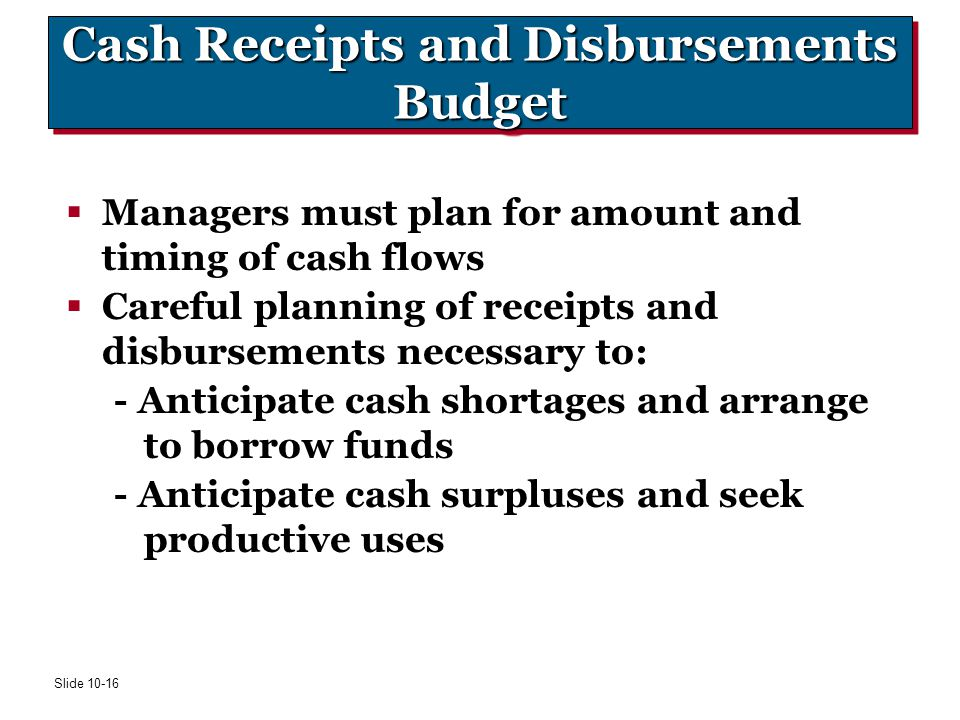 Cash Receipts and Disbursements Budget