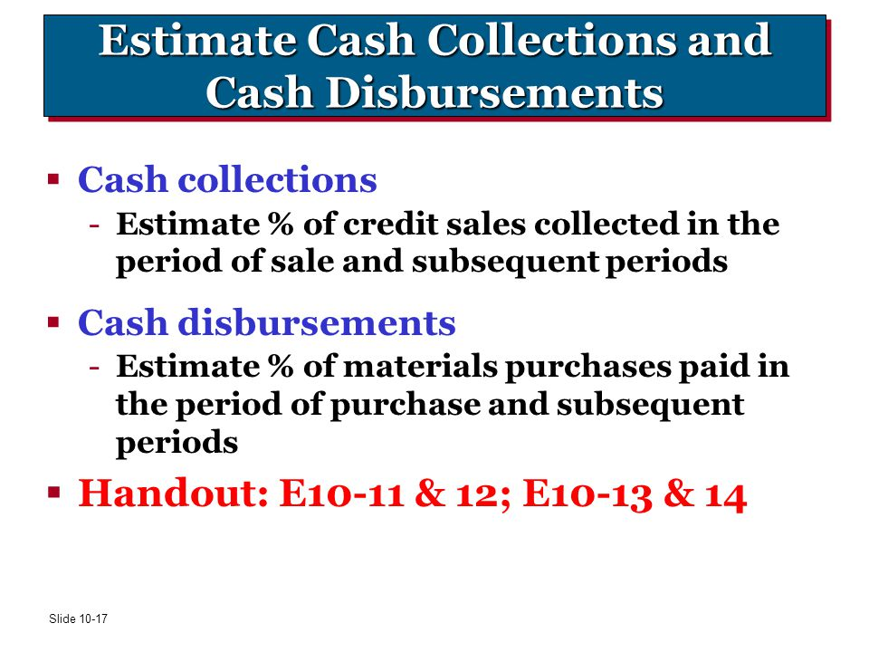 Estimate Cash Collections and Cash Disbursements