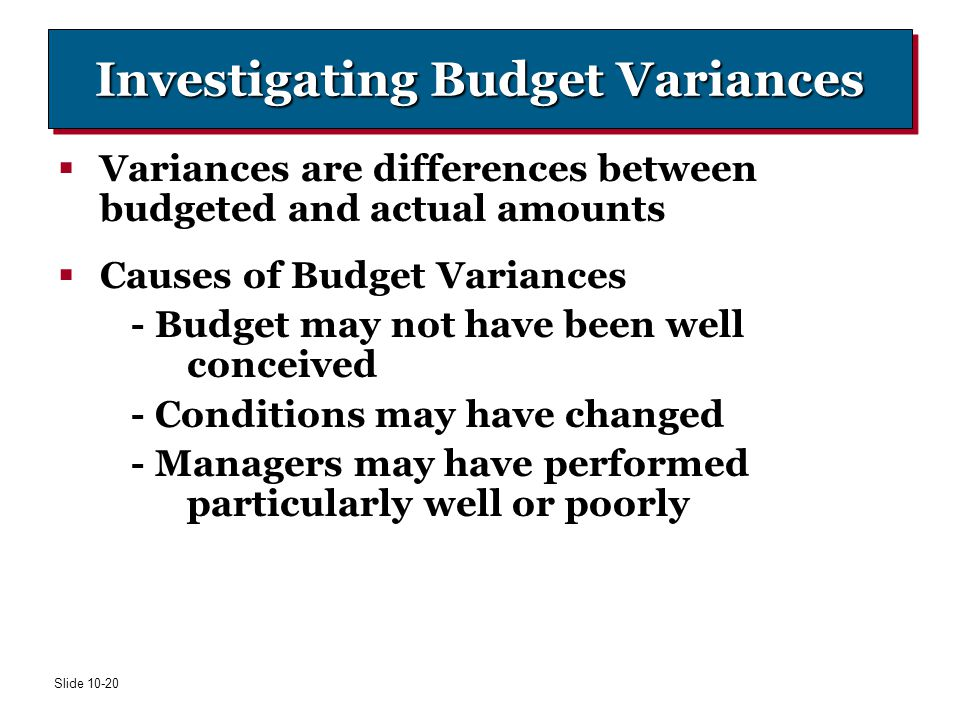 Investigating Budget Variances