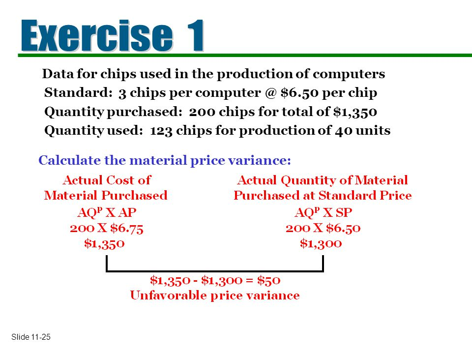 Exercise 1 Data for chips used in the production of computers