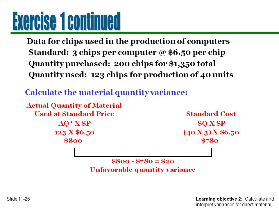 Exercise 1 continued Data for chips used in the production of computers. Standard: 3 chips per $6.50 per chip.